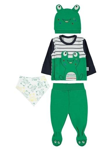 Albimini Albimini Erkek Bebek 4'Lü Zıbın Takımı Yeşil